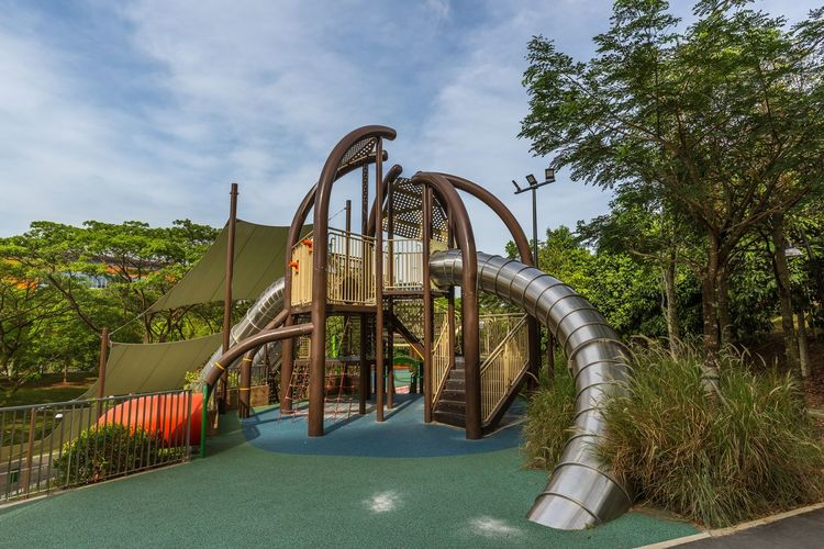 Playground - Admiralty Park. Modern loops, twirls and slides Arch Architecture Built Structure Cloud - Sky Connection Day Metal Nature No People Outdoor Play Equipment Outdoors Park Park - Man Made Space Plant Playground Pool Sky Swimming Pool Tree Water