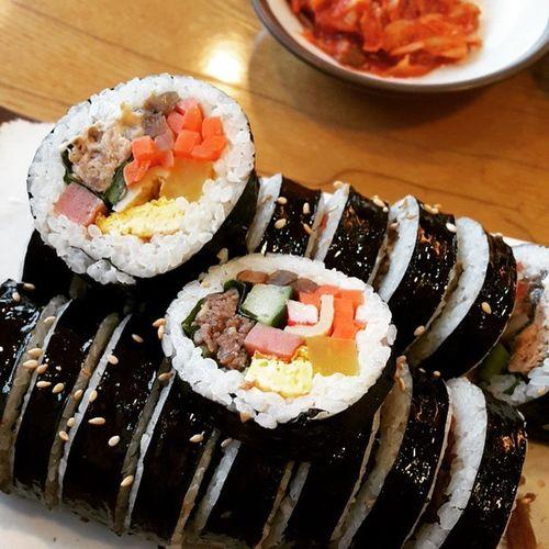 먹스타그램 참치김밥 소고기김밥 아침