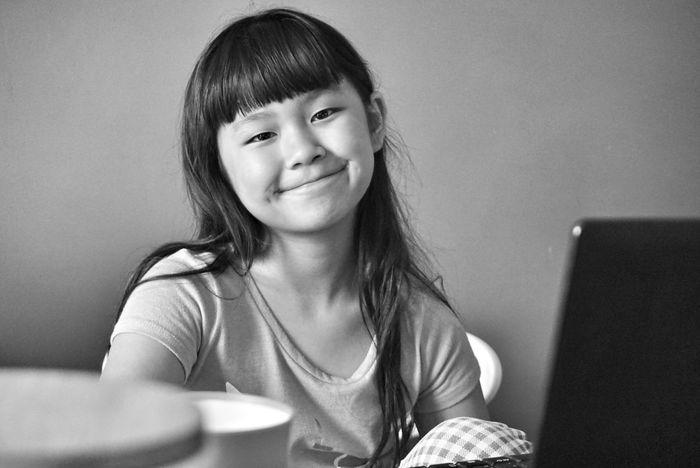 Kitsune chan #Monochrome Photography Monochrome Blackandwhite Amateurphotography Followme #sonyalpha #SonyA6000 Sonyimages Child Portrait Smiling Wireless Technology Sitting Cheerful Happiness Girls Childhood Computer