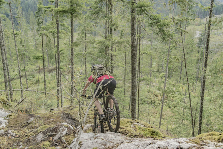 Man cycling in forest