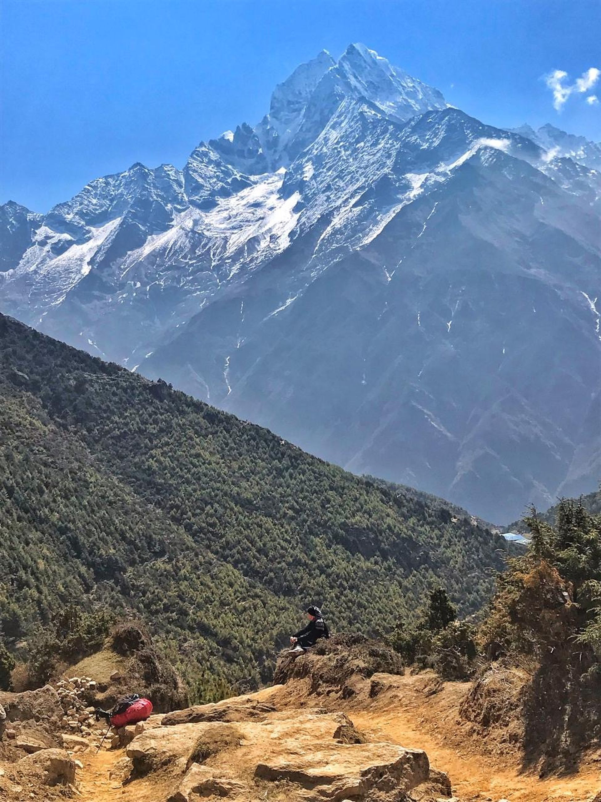 mountain, scenics - nature, beauty in nature, mountain range, tranquil scene, tranquility, environment, landscape, sky, non-urban scene, nature, day, adventure, activity, hiking, idyllic, leisure activity, rock, remote, outdoors, mountain peak, snowcapped mountain