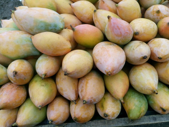Directly above shot of mangoes at market for sale