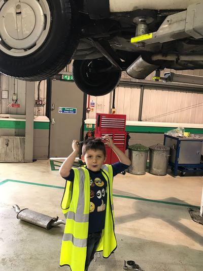 Junior helping fix mummy's Mk2 Volkswagen Golf Childhood One Person Boys Indoors  People Day EyeEmNewHere Volkswagen Golf vw Exhaust