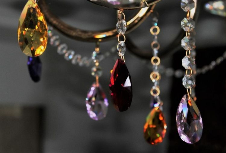 Close-up of precious stones against blurred background