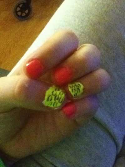 My nails (: #Pink #Yellow #Bright #Lovee