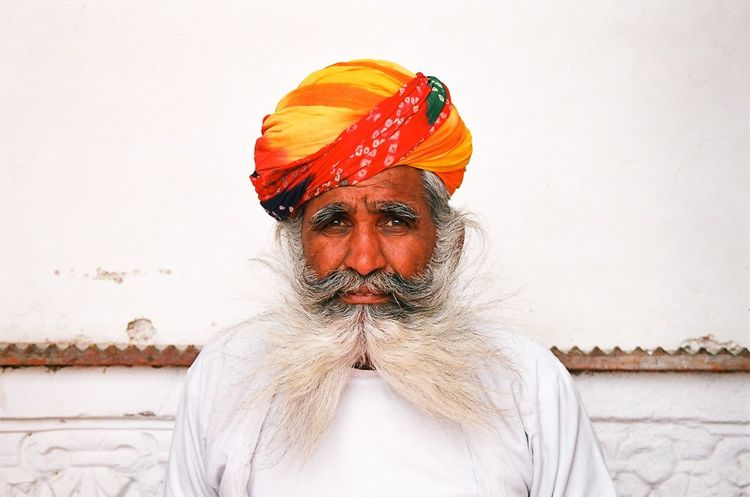 Analogue Photography Close-up Faces Of India Minolta Dynax 505si Multi Colored Orange People Of India Portrait Through India 2008 Turban Natural Light Portrait