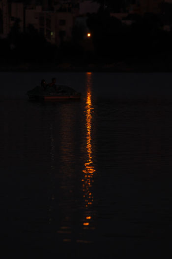 finishing point Beauty In Nature Illuminated Nature Nautical Vessel Night No People Outdoors Reflection Scenics Silhouette Sunset Water
