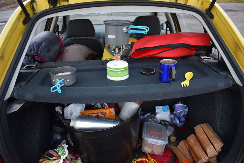 Skoda Skodafabia Car Car Camping Mountain Cookset Logs