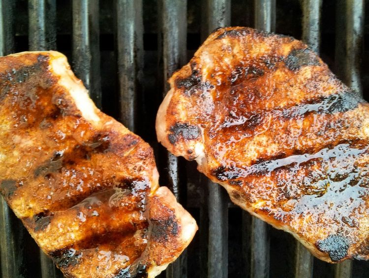 Grilled pork chops Grilled Pork Grill Pork Chops Porkchops BBQ Grilled Meat Grilling Grilled Pork Grilledpork Close-up From Above  Overhead View Barbecue Meat! Meat! Meat! Porkchop Two Lines BBQ Time Barbeque Grillmaster Foodphotography Food Food Photography Foodie