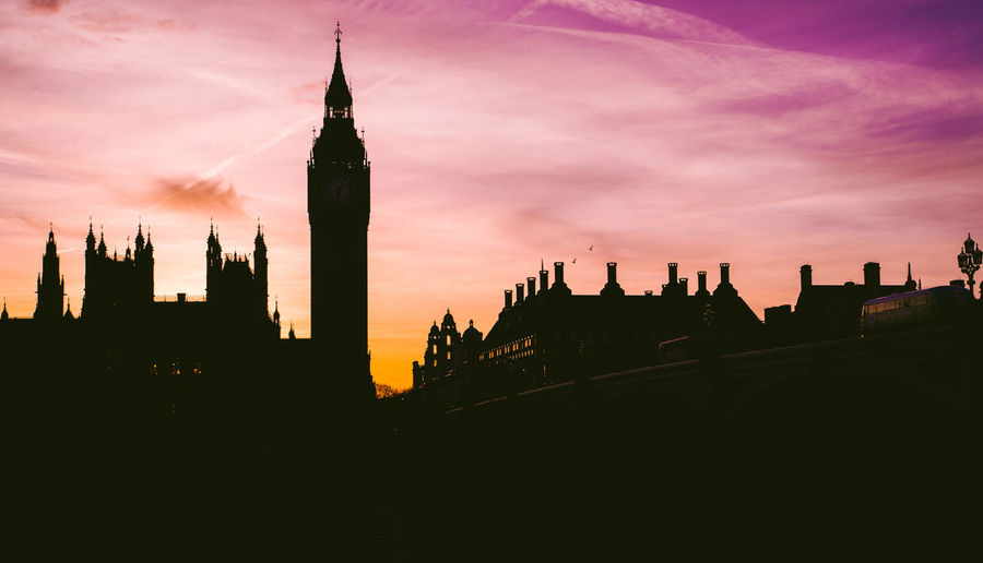 Low angle view of silhouette big ben during sunset