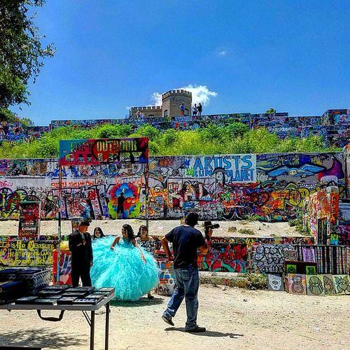 People And Places Austin Austin Texas Blue Clear Sky Creativity Outdoors City Life Multi Colored Keepaustinweird Quinceañera Graffiti Art Artgallery Art Wall Baylor Street