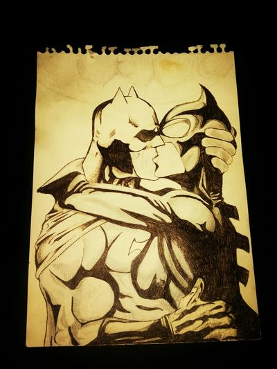 Drawing of Batman & Catwoman, Romance in Gotham, enjoy. Like & follow :)