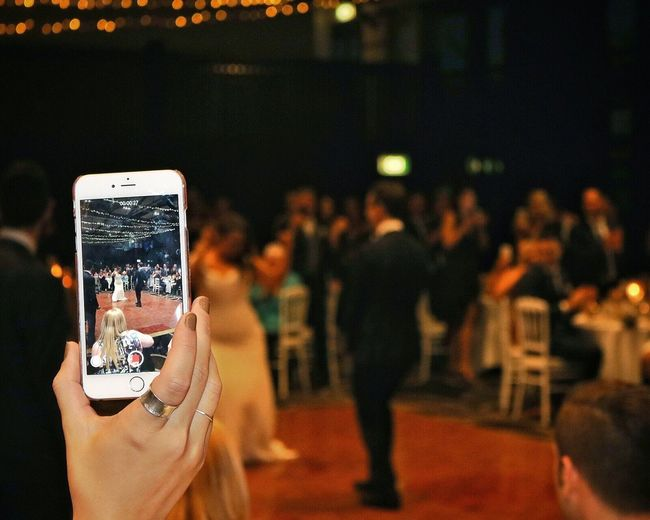 Bride and groom's first dance, recorded on an iPhone 6 and captured (sorta) on my DSLR... a picture within a picture! Mobile Phone Wedding Dance Bride And Groom Real People Crowd Live Event Night Indoors  Canon EOS 750D Edited With Snapseed EyeEmNewHere