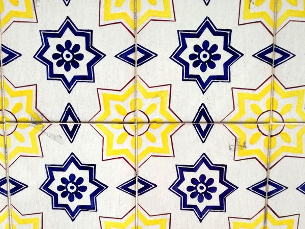 Pattern Full Frame Yellow Backgrounds Blue Azulejos Porto Portugal Azulejosportugueses Design Portugal Is Beautiful Blue Color Azulejoportugues Azulejo Fliese Blue And Yellow No People Close-up Day
