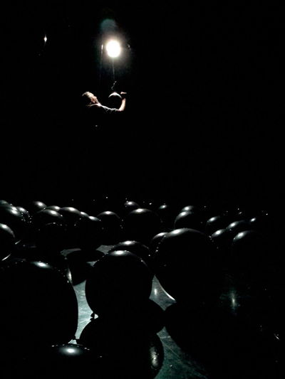 Baloons Black Dark Light Light And Shadow Monochrome Moon Moonlike Night Photography Portait Of A Men Space Exploration Stage - Performance Space Telling Stories Differently Theatre Beautifuly Organised