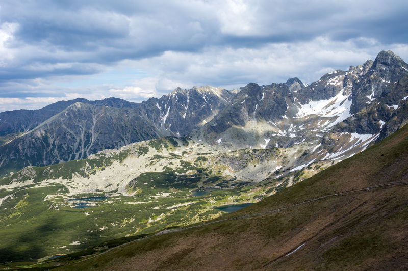 Scenic view of tatra mountains against cloudy sky