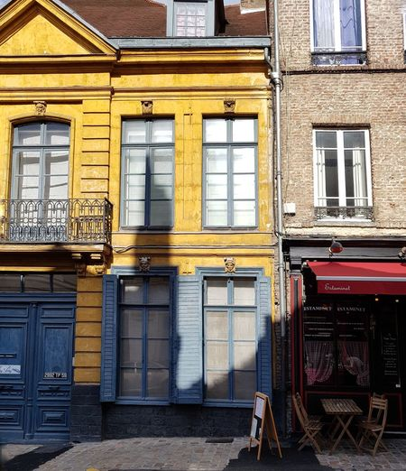 Paint The Town Yellow Architecture Built Structure Building Exterior Window Day Outdoors No People France Lille Yellow Residential Building FaçadeShutters Cafe The Week On EyeEm