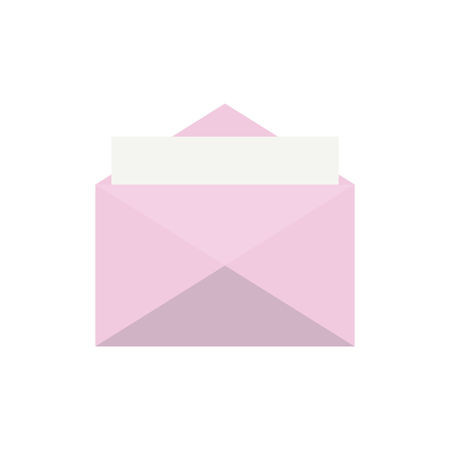 Flat envelope vector icon Isolated on white background Design Envelope Icon Illustration Internet Message Paper Send Business Email Isolated Letters Post Receive Sign Address Communication Contact Mail Pink Color Postal Symbol Triangle Shape Web White Background