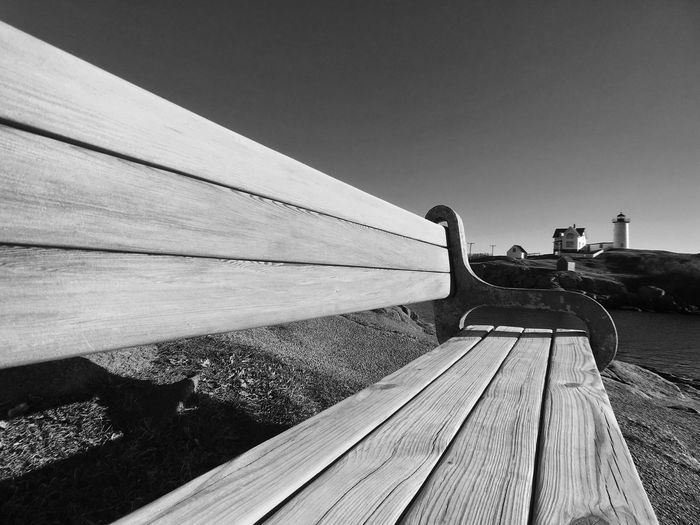 Boardwalk against clear sky