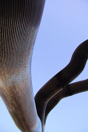 Architecture Bird Blue Branch Building Exterior Built Structure Clear Sky Close-up Copy Space Day Kieler Woche 2011 Low Angle View Metal Nature No People Outdoors Part Of Pattern Sky Tall - High Tower