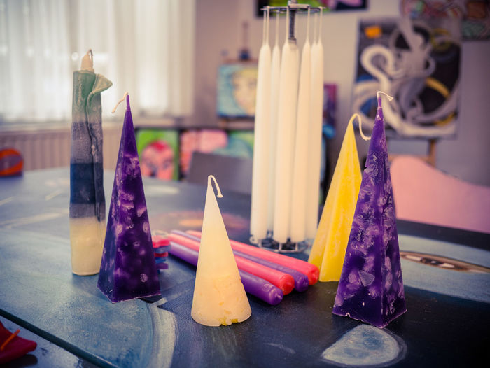 colorful handmade candles Crafting Candles Candle Making Yellow Purple Multi Colored Close-up