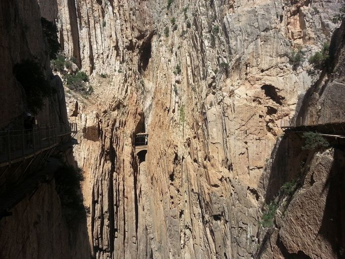 Bridge Between Rocks Caminito Del Rey Cliff Dangerous Way Desfiladero De Los Gaitanes El Chorro Gangway Geology Landscape Malaga Mountain Physical Geography Platform Precipice Rock Rock - Object Rock Formation Rocky Mountains Tranquility Two Is Better Than One