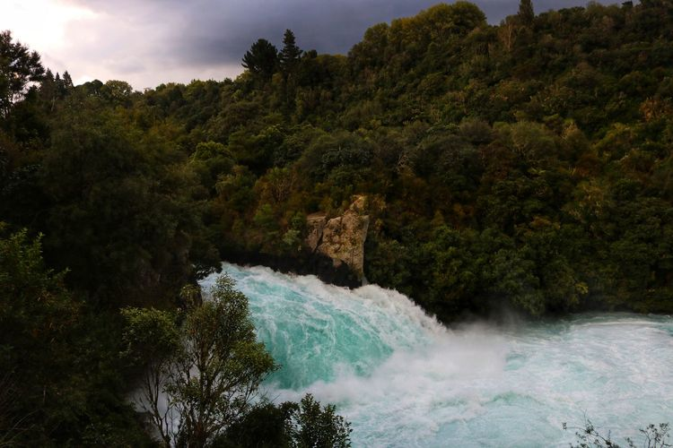 New Zealand Huka Falls Huka Falls, NZ Water Rapids White Water Rapids  White Water Blue colour of life Stormy Weather Stormy Sky Storm Clouds Sunset Nature No People Scenery New Zealand Scenery Tree Plant Beauty In Nature Scenics - Nature Motion Waterfall Forest Flowing Water Growth Non-urban Scene Day Land Power In Nature Long Exposure Flowing Green Color Outdoors
