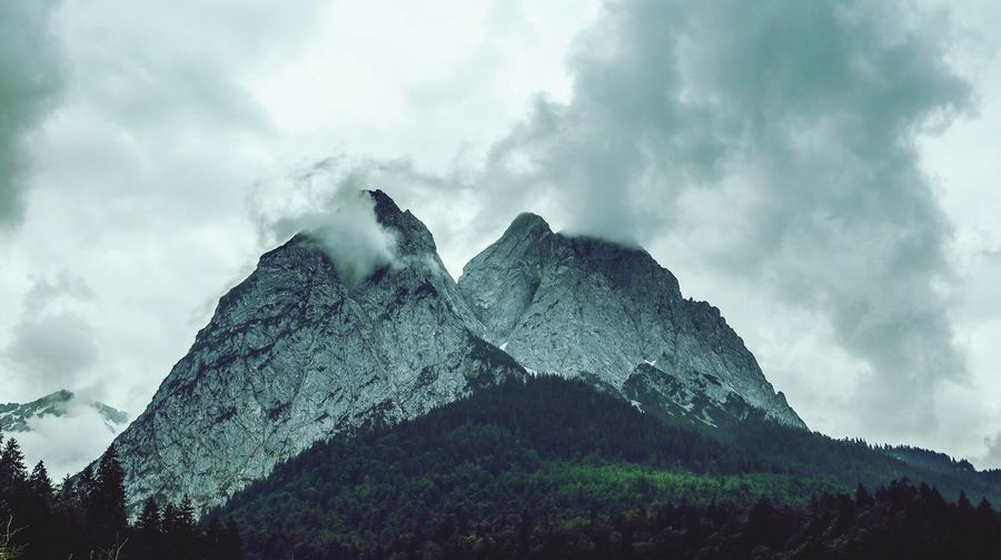 Waxenstein in Bavaria Landscape Alpen Alps Garmisch-partenkirchen Waxenstein Cloud - Sky Sky Plant Low Angle View Tree Nature Day Beauty In Nature No People Mountain Growth Outdoors Tranquility Scenics - Nature Tranquil Scene Land Forest Mountain Peak