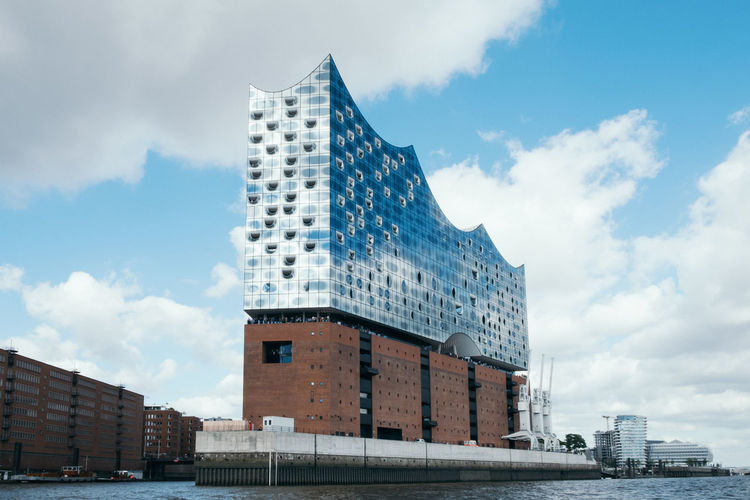 Elbphilharmonie Hamburg Architecture Architecture Attraction Building Building Exterior Built Structure City Clouds Day Elbphilharmonie Germany Glass Hamburg Harbour Low Angle View Modern No People Outdoors Sky Skyline Tourism