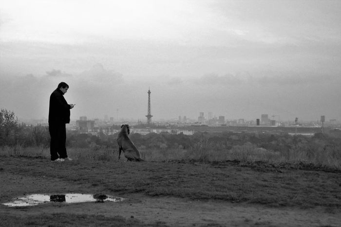 Adult Autumn Berlin Black & White Black And White Blackandwhite Cloud - Sky Day Dog Funkturm Men Monochrome Monochrome Photography Mountain Nature One Person Outdoors Sky Skyline Teufelsberg Capture Berlin