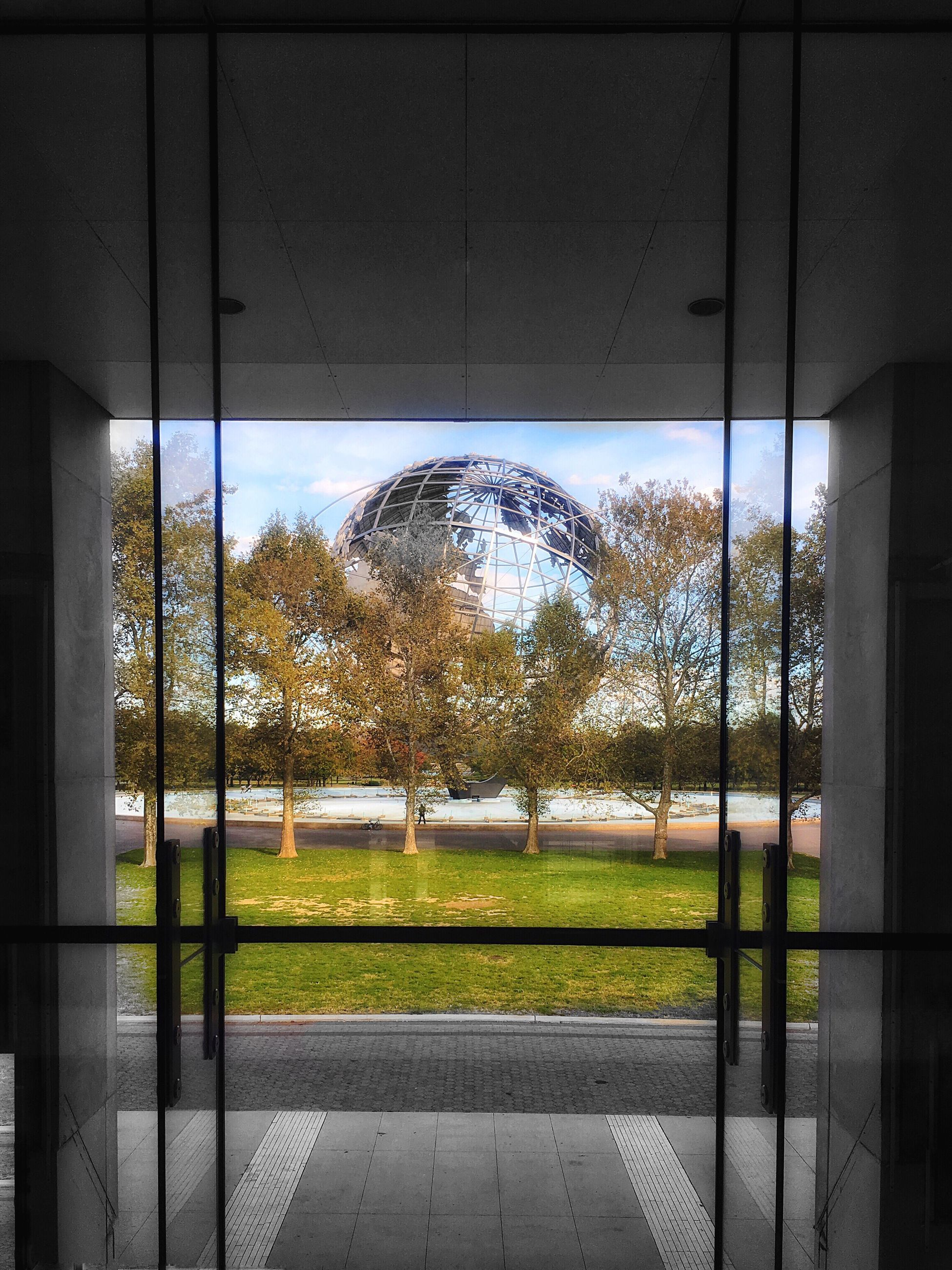 tree, window, soccer field, playing field, soccer, sport, outdoors, no people, architecture, day, sky, nature, built structure, building exterior, grass