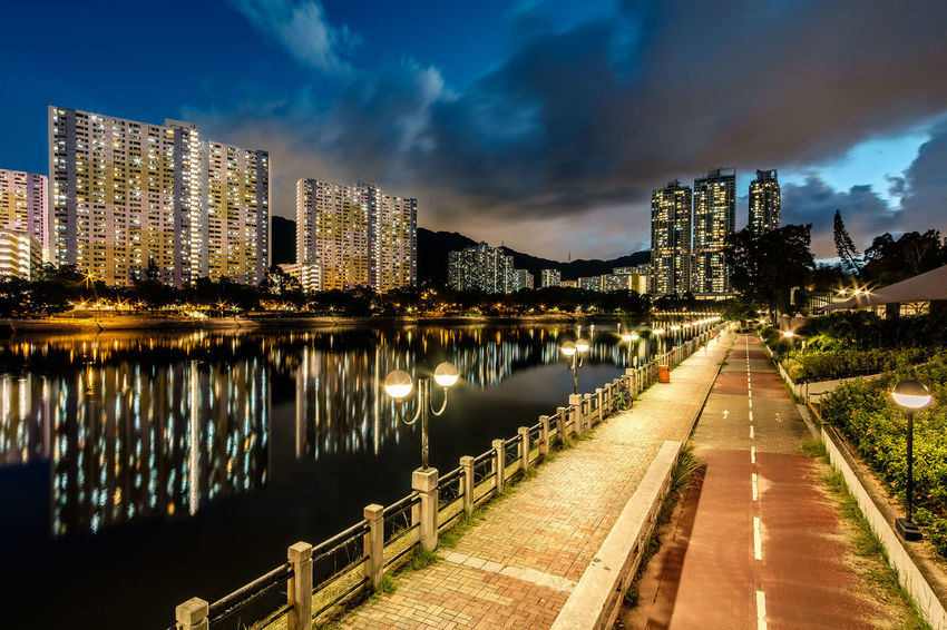 ASIA Hong Kong Path Sha Tin Architecture Building Exterior Built Structure City Cityscape Cloud - Sky Illuminated Nature Night Outdoors River Sky Water