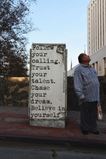 Only you can stop you. Streetart Belive Downtown Losangeles Real People One Person Full Length Lifestyles Day Standing
