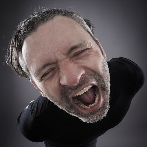 Portrait Adult Adults Only Beard Black Background Close-up Crazy Day Eyes Closed  Gray Background Headshot Human Face Indoors  Loud Mature Adult Men One Man Only One Person Only Men People Portrait Real People Screaming Studio Shot Wide Angle Young Adult