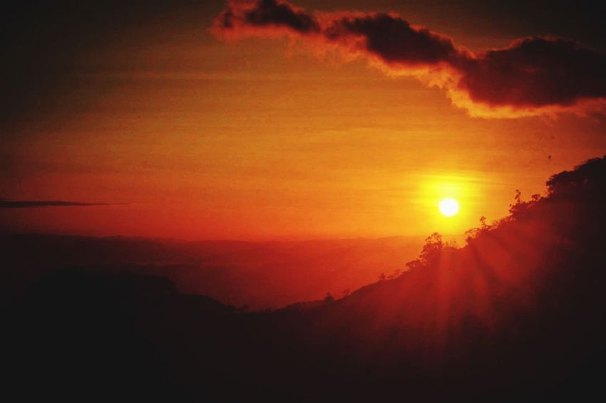 Sunset Sky Sun Beauty In Nature Orange Color Scenics - Nature Silhouette Sunlight Dramatic Sky Tranquility Mountain