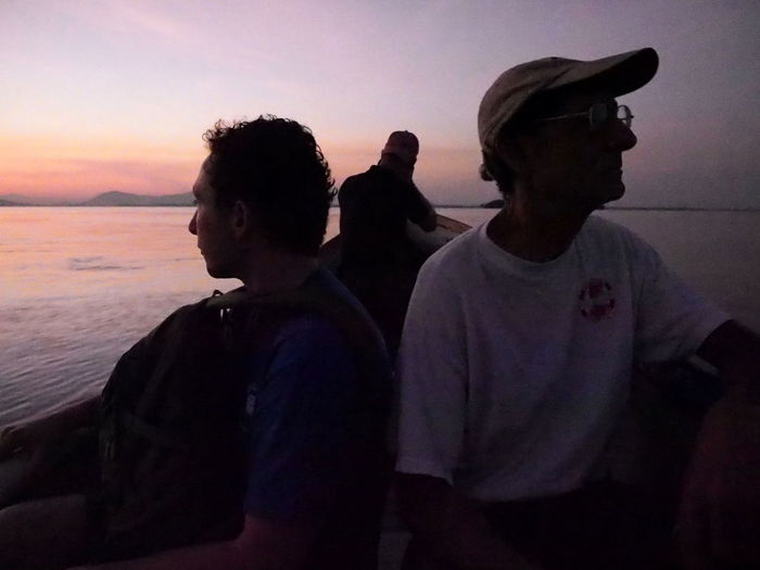 Dawn boatride to find mangrove teaching site Boat Ride Dawn Early Morning Gulf Of Fonseca Lookout Pale Light