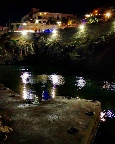 Night Illuminated Reflection Water Outdoors Building Exterior No People Architecture Sky City Salento Mare Sea Notte Night Estate Summer Estate2017 Summer2017 Puglia Italia Italy