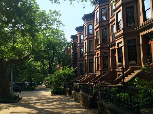 Brownstones on a Sunny Day . Nannylife Walking Around Enjoying The Sun