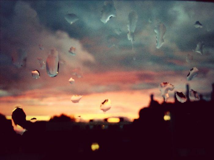 Look! The orange sky! Sky Clouds Orange Rain