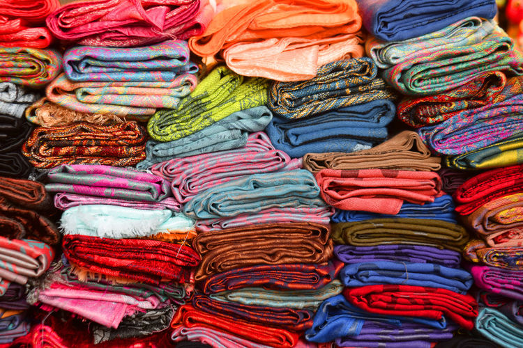 Full frame shot of colorful textile for sale in market