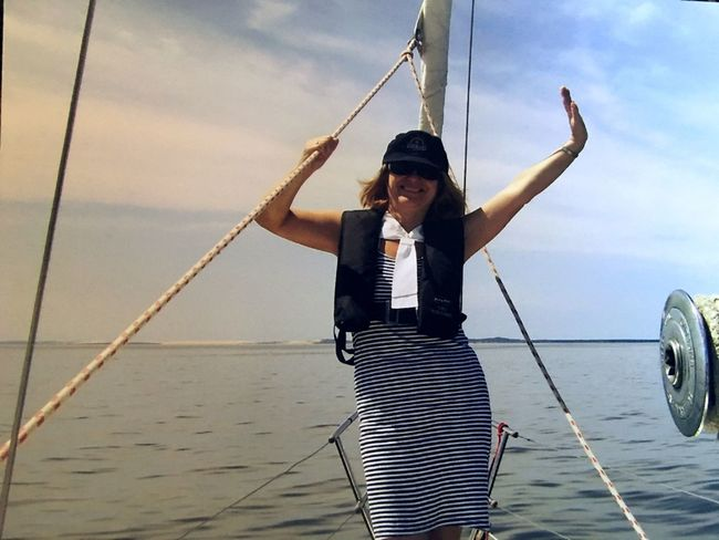 Sea Water Sky Front View Outdoors Casual Clothing One Person Young Adult Standing Day Cloud - Sky Nautical Vessel Real People Young Women Sailing Nature Lifestyles Full Length Horizon Over Water People