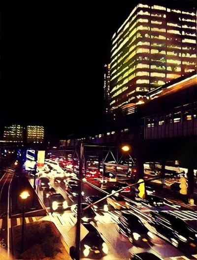Street lights New York City Night Illuminated City Built Structure Car Transportation Street Light City Life Travel
