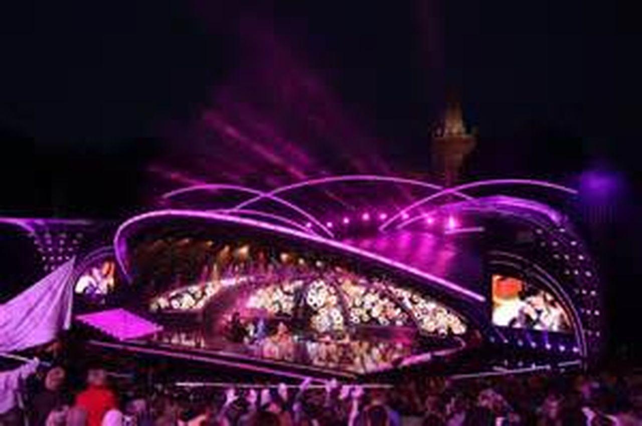night, illuminated, purple, large group of people, outdoors, sky, neon, crowd, people