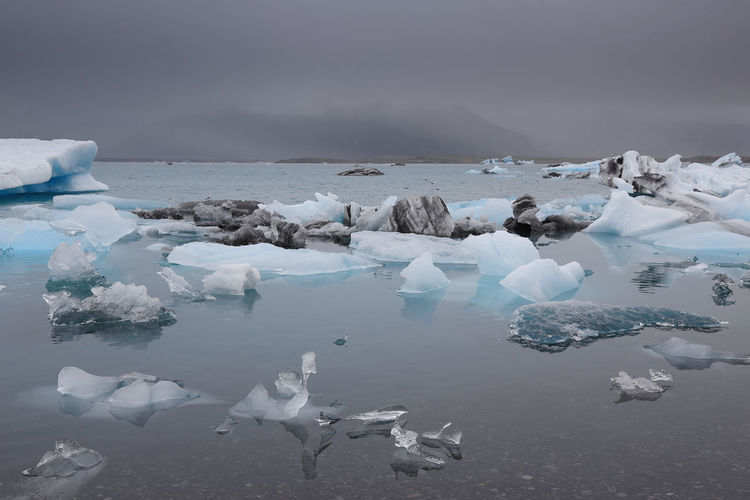 View of ice in lake against sky