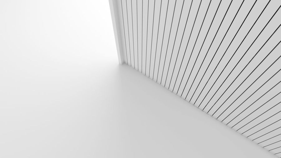 White wood lath wall isolated on white background in architecture concept. Mock up stats striped pattern texture. 3d illustration Architecture Absence Arcade Architecture Built Structure Ceiling Close-up Copy Space Corner Corridor Day Flooring High Angle View Indoors  Lath No People Railing Simplicity Slats Staircase The Way Forward Wall - Building Feature White Background White Color Wood - Material