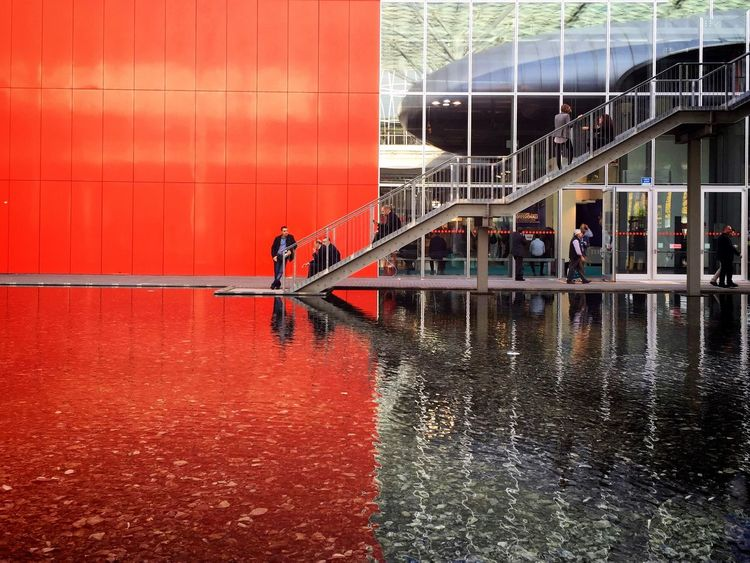 Architecture Red Fieramilano Water Reflections From My Point Of View IPhoneography Capture The Moment Coloursplash Red And Grey IPS2015Color IPS2015Water IPS2015Architecture Better Look Twice Colors and patterns Minimalist Architecture The Graphic City The Architect - 2018 EyeEm Awards
