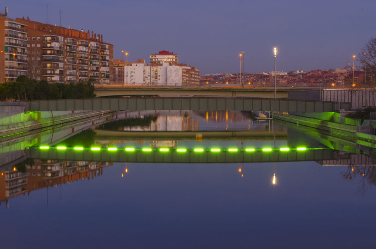 Madrid Architecture Bridge Bridge - Man Made Structure Building Building Exterior Built Structure City Connection Glowing Illuminated Manzanares Nature Night No People Outdoors Reflection River Sky Water Waterfront