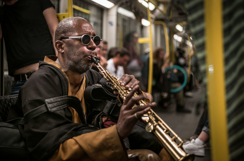 Berlin Berlin By Night The Week on EyeEm U-Bahn Artist Arts Culture And Entertainment Documentary Focus On Foreground Glasses Hermannplatz Lifestyles Multi Cultural Music Musical Instrument Musician Performance Saxophone Street Musican Subway