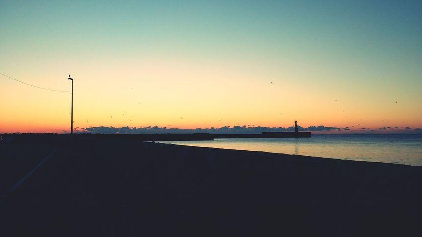 Sunset Sea Orange Sky