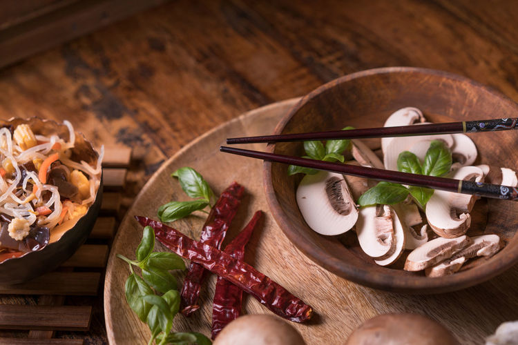 Mushrooms Chinese Food Chinese Vegetables Mushrooms Arranges Backgrounds Close-up Cutting Board Day Eat Food Food And Drink Food Still Life Foodphotography Freshness Healthy Eating High Angle View Indoors  Meat No People Pepperoni Plate Ready-to-eat Table Vegetable Wood - Material